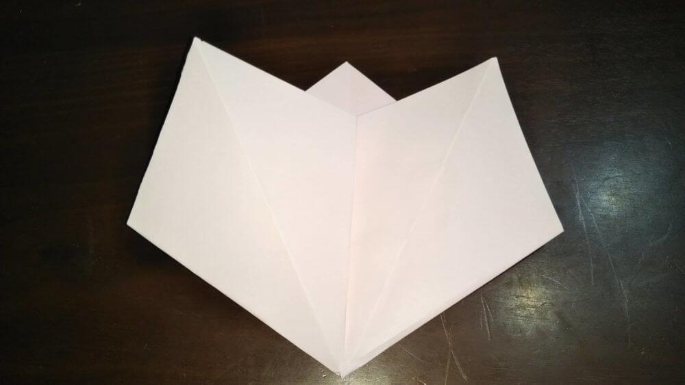 「平面カエルの顔」の簡単な折り方5