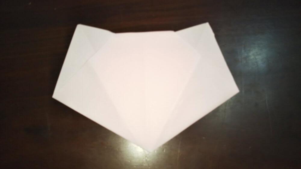 「平面カエルの顔」の簡単な折り方6