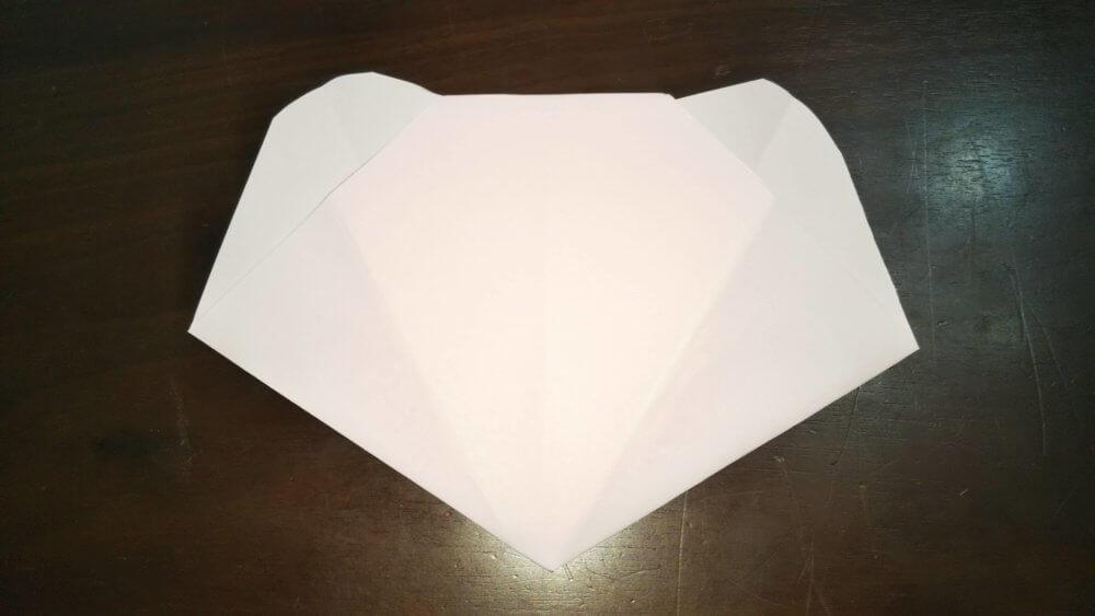 「平面カエルの顔」の簡単な折り方7