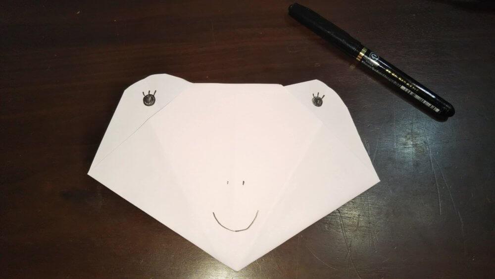 「平面カエルの顔」の簡単な折り方8