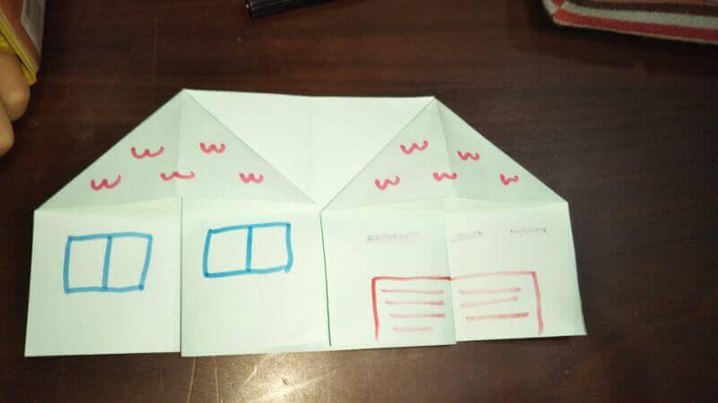 折り紙|おうち(家)の作り方7