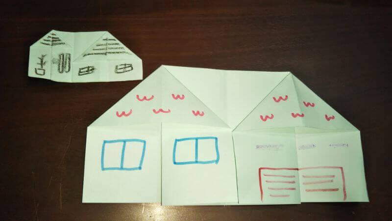 折り紙|おうち(家)の作り方8
