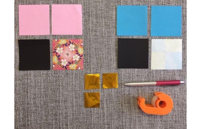 雛人形の折り紙の折り方【材料】