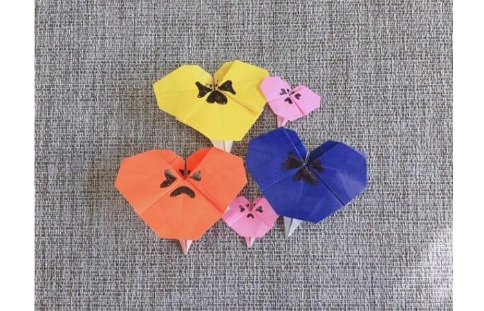 折り紙「立体パンジー&ビオラ」の花畑