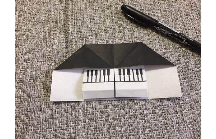 折り紙:立体ミニチュアピアノの作り方【簡単な折り方】10
