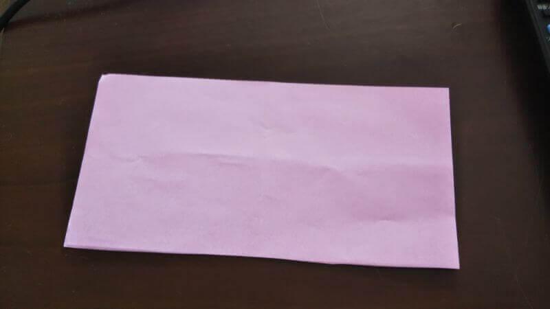 折り紙「ウサギのしおり」の作り方1