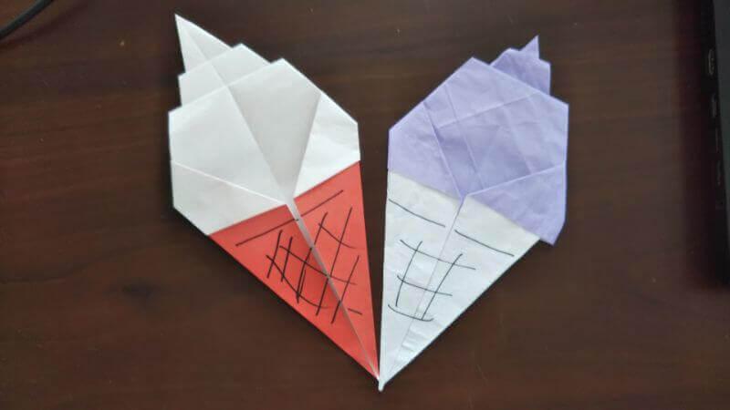 ソフトクリーム折り紙の簡単な折り方8