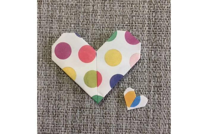 ハート折り紙の折り方アレンジ1