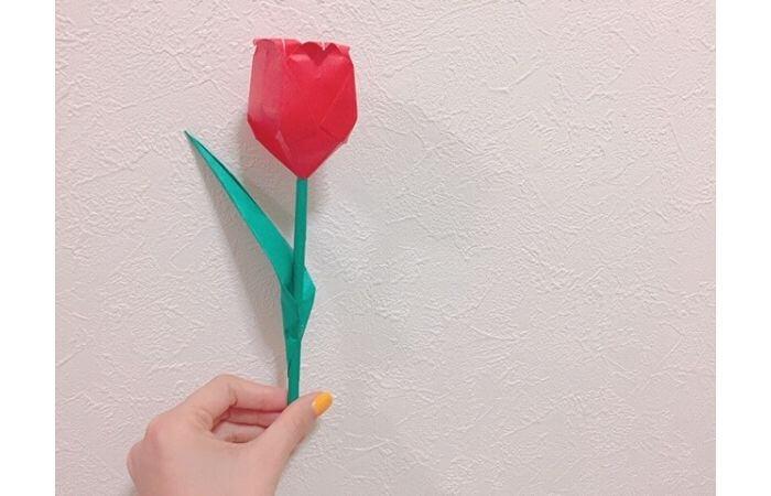 折り紙チューリップの葉っぱの折り方9