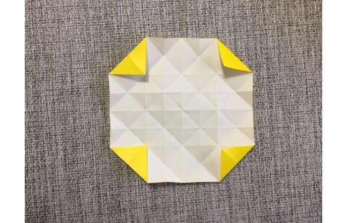 折り紙1枚で作る「立体ダリア」の折り方13