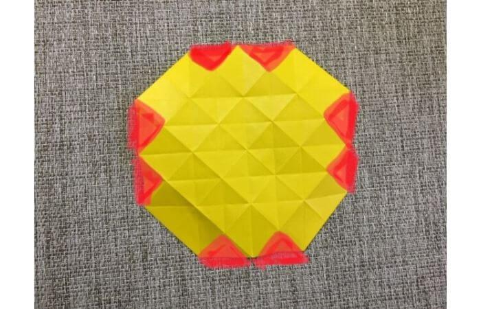 折り紙1枚で作る「立体ダリア」の折り方14-1