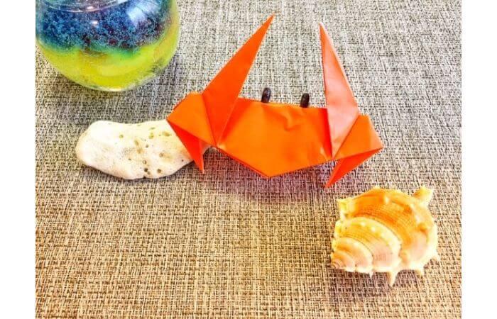折り紙「立体的なカニ」の飾り方