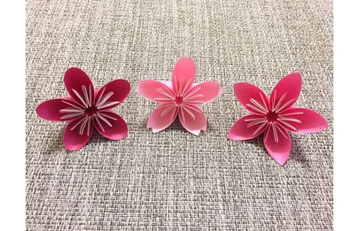 簡単折り紙「桜の花びら・梅の花・桃の花」集合1