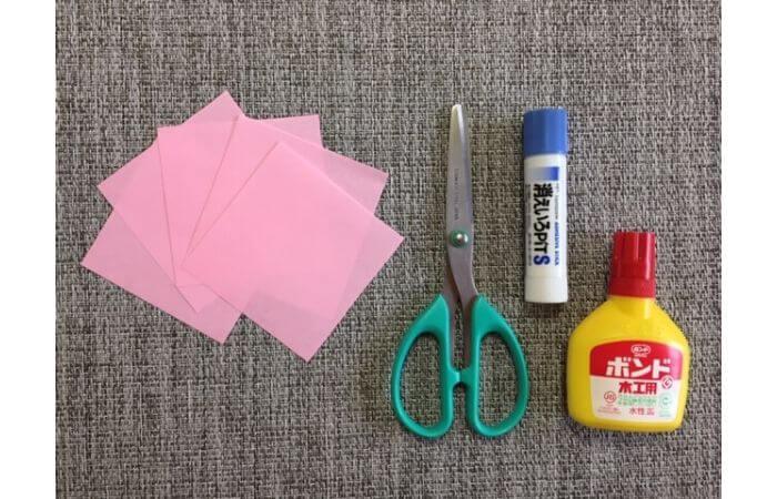 簡単折り紙「桜の花びら」の折り方【材料】