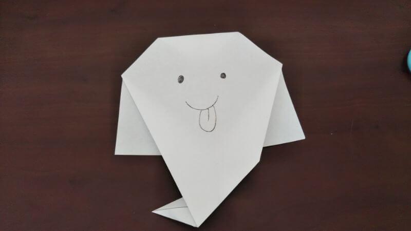 簡単折り紙「かわいいお化け」の折り方6