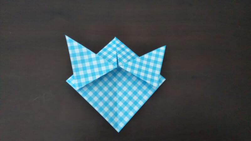 折り紙「指人形×顔だけ動物」の折り方4