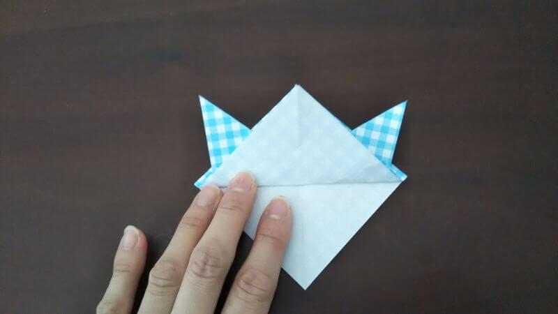 折り紙「指人形×顔だけ動物」の折り方5