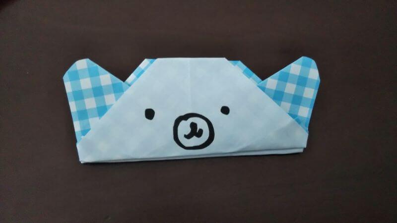 折り紙「指人形×顔だけ動物」の折り方9