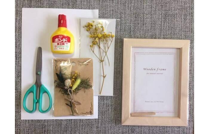 【100均DIY】立体ドライフラワーインテリア〈花束の壁面飾り〉の材料